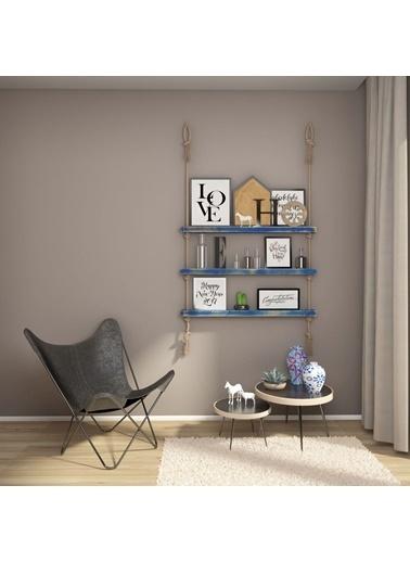 222 Concept Masif Ağaç Eskitme Mavi Renk 100x9x4 cm Halatlı Raf Mavi